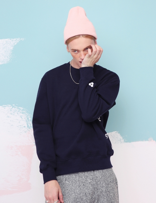 BASIC side embroidery sweatshirt (Navy)