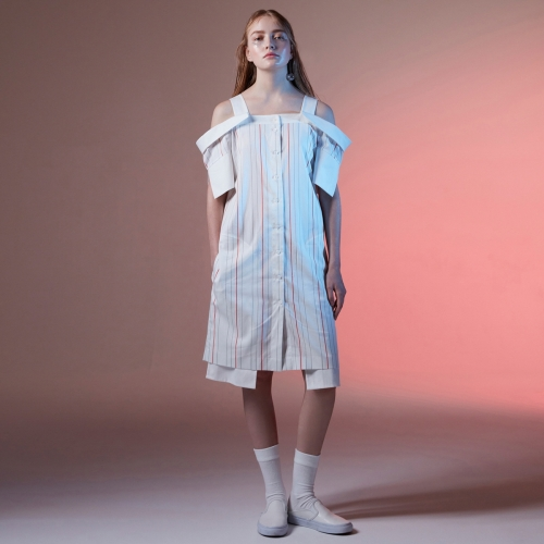 BE.ON.LEE (비온리) OFF SHOULDER DRESS [stripe]