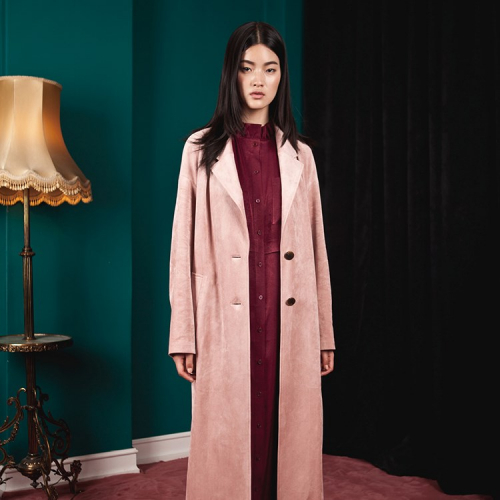 ARACHNE Suede long straight simple coat
