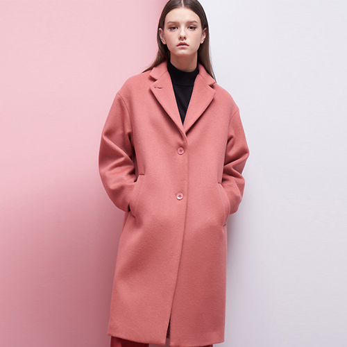 PINK NOTCHED LAPEL COAT
