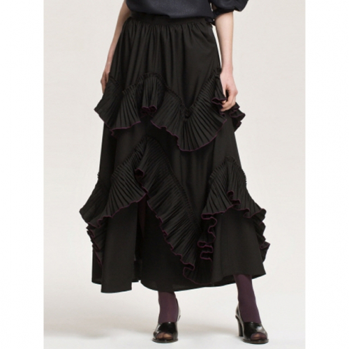 까이에 Ruffled Crinkled Skirt