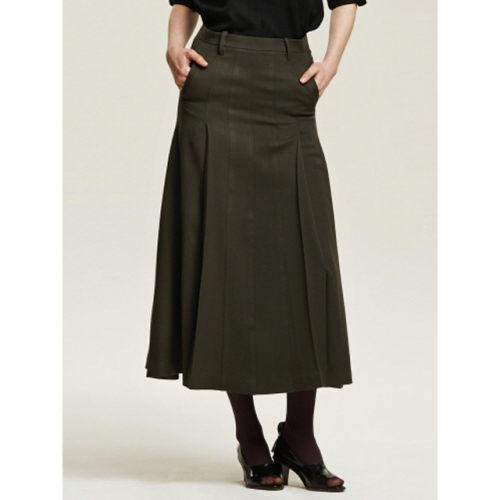 까이에 Side Pleated Maxi Skirt