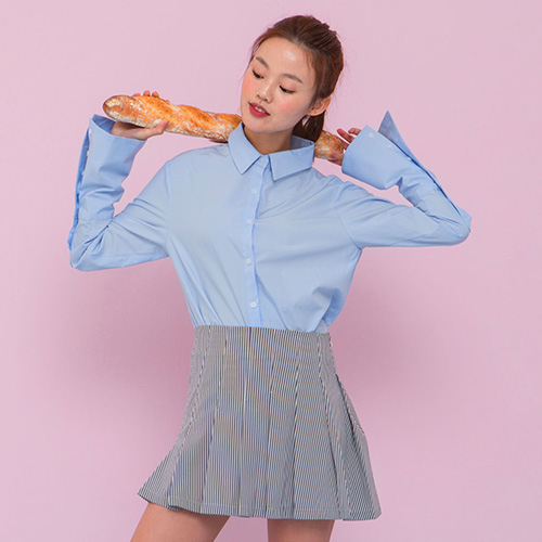 [네스티해빗] LONG CUFFS SHIRT (SKY BLUE)