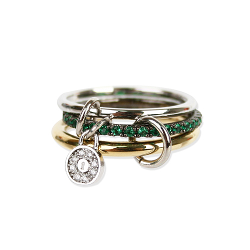 GREEN CRYSTAL SET RING [DL17SSRG04GRF]