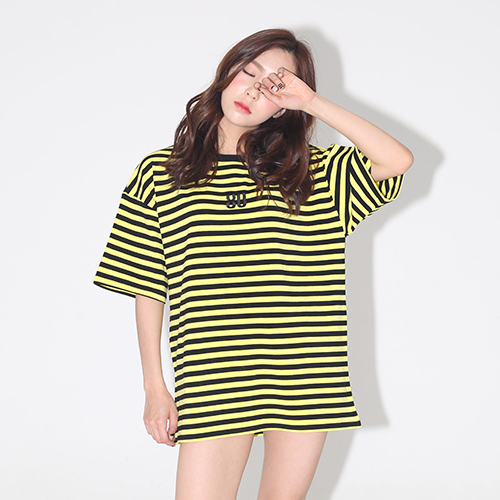 [AROUND80] STRIPE SNAKE ROSE T-SHIRTS_YELLOW