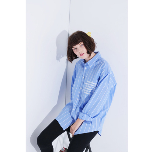 Signature Oversize Stripe Shirt - Sky Blue