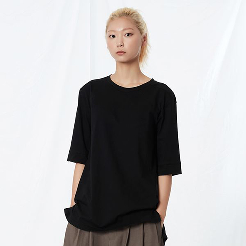 [리릭] RELAXED COTTON MID-SLEEVE BLACK (WOMEN)