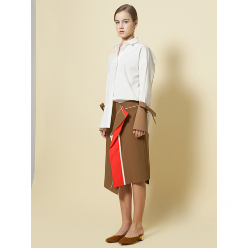 [ Le yiel ] Line intersection Skirt_Camel