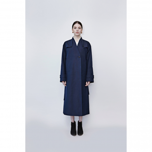 [HEINIQUE] Oriental long Trench coat (Navy)-주문제작