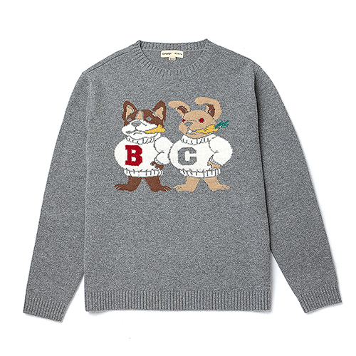 [COLLECTION LINE]DOG-RABBIT KNIT GRAY