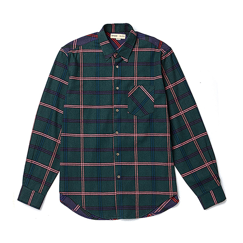 [COLLECTION LINE]COLOR BLOCK CHECK SHIRTS DEEP GREEN