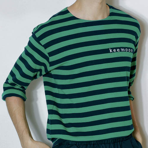 [키믄] green stripe t-shirts