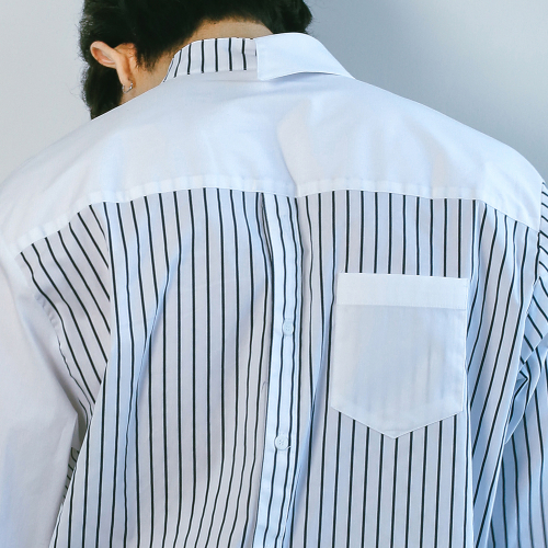 [키믄] collar point M block shirts