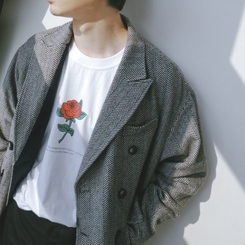 [키믄] slogan rose t-shirts