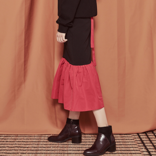 [블랭크]COLOR LONG SKIRT-RED