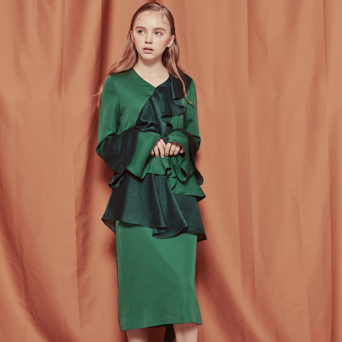 [블랭크]RUFFLE LONG DRESS-GREEN