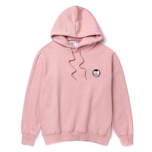 [비욘드클로젯][기모]FRANCE DOG WAPPEN HOOD T-SHIRTS 2017WINTER INDI PINK