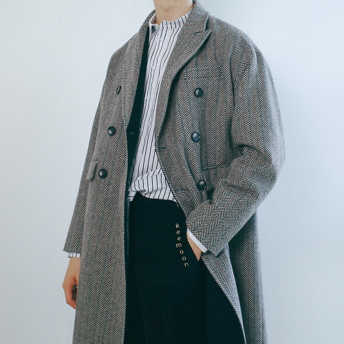 [11/28예약배송][키믄] gray herringbone coat
