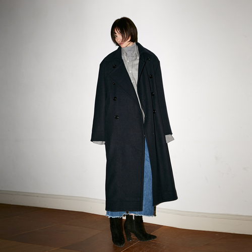 [호웰] HOWELL SUPER OVERSIZE DOUBLE BREASTED COAT_NAVY