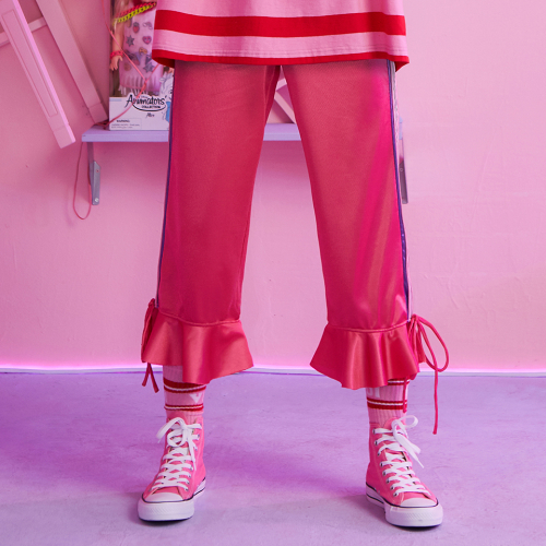 [브이브이브이] VVV PINK TAPE RIBBON FLARE PANTS