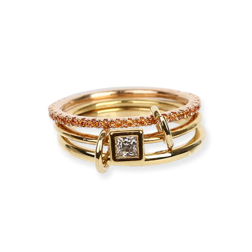 Crystal Square Mix Ring[DL18SSRG06YLF]