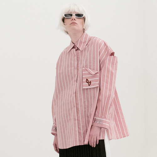 [비에이블투] Stripe Shoulder Open Shirts (PINK)