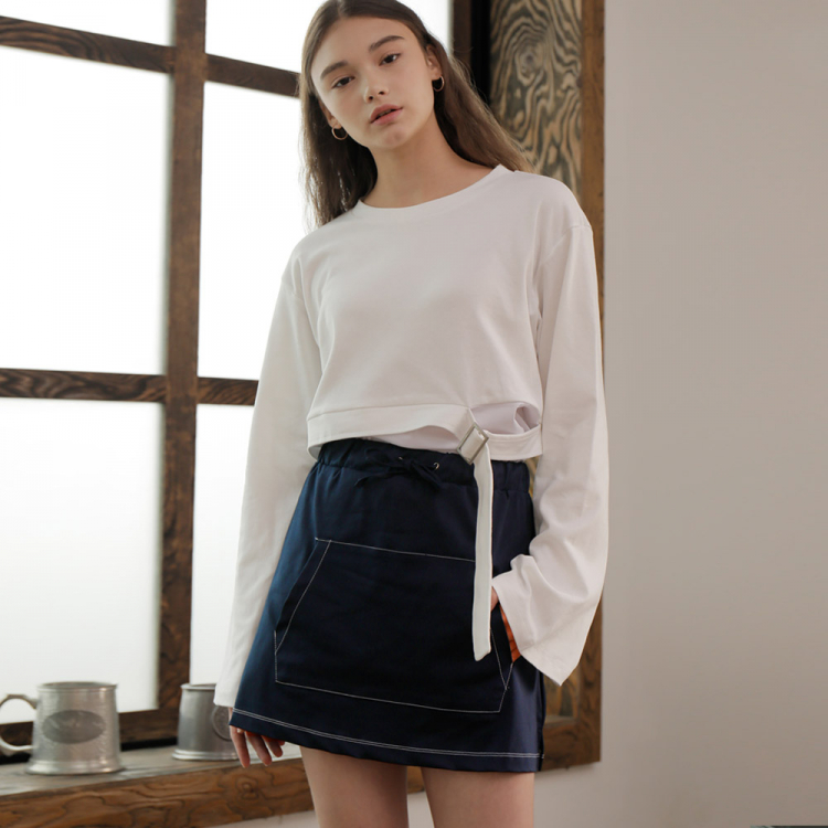 [와드로브] KANGAROO POCKET SKIRT_NAVY