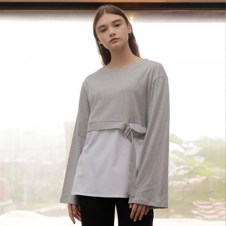 [와드로브] BELT LAYERED T-SHIRT_GRAY