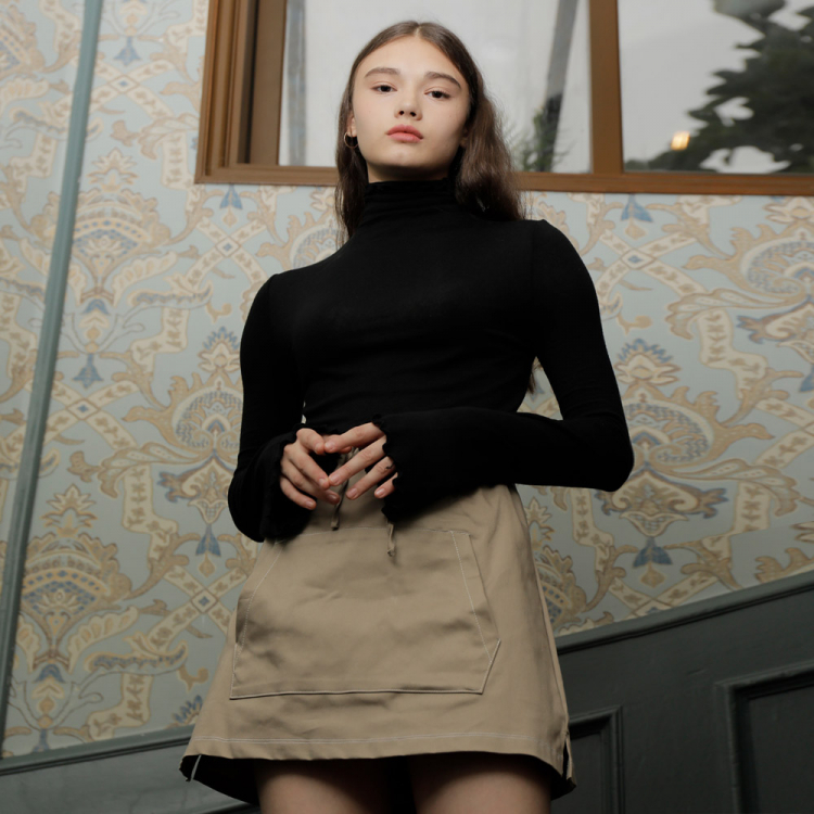 [와드로브] WAVE TURTLENECK T-SHIRT_BLACK