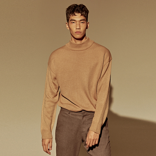 [DEANS] OVER HIGH NECK SWEATER_BEIGE