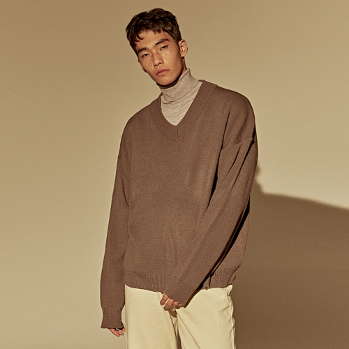[DEANS] OVER DROP V SWEATER_GRAY