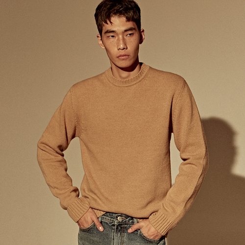 [DEANS] LAMBS WOOL SWEATER_CAMEL